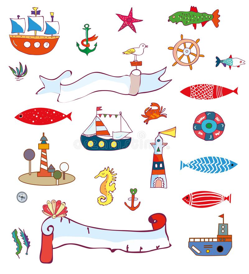 Nautical sea set - doodle objects and elements, graphic illustration vector illustration
