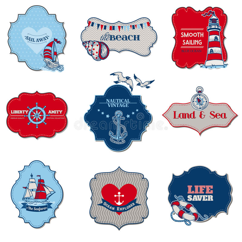 Free Nautical Sea Tag Elements Royalty Free Stock Photography - 29918877