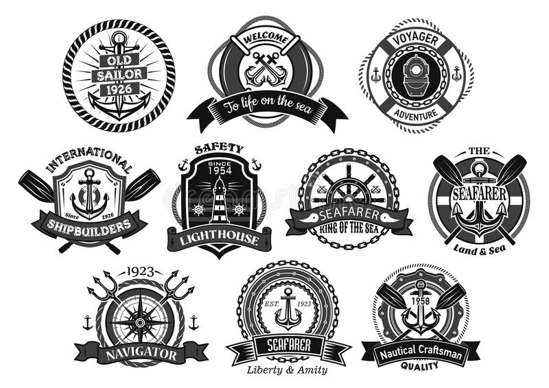 Nautical seafarer, marine sea sailor vector icons stock illustration