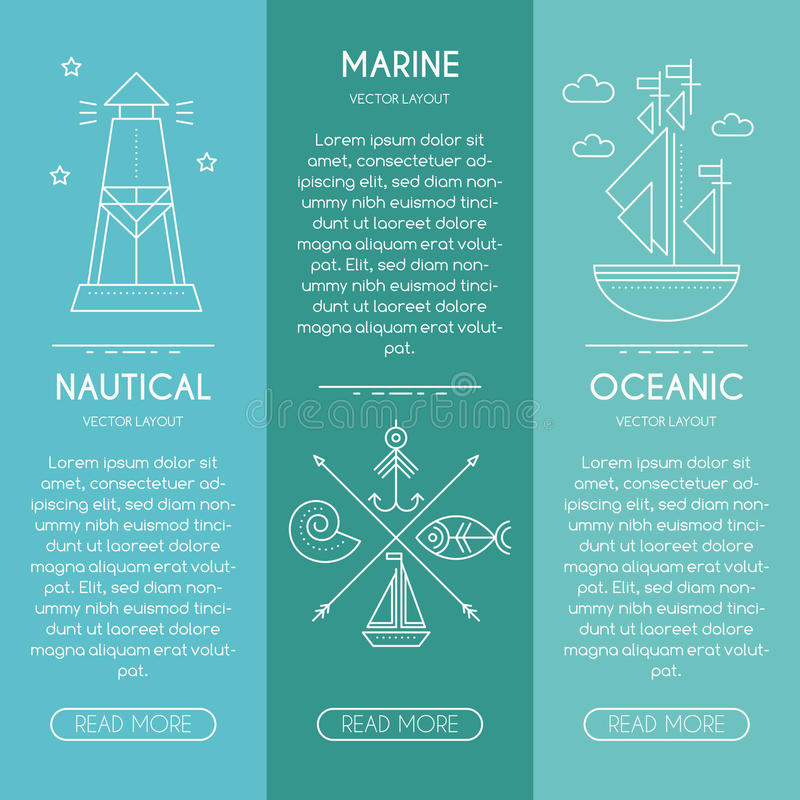 Nautical or seafaring company banner design template thin line download nautical or seafaring company banner design template thin line style stock vector illustration pronofoot35fo Images