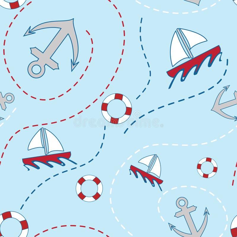 Download Nautical Seamless Pattern stock vector. Illustration of children - 25070460