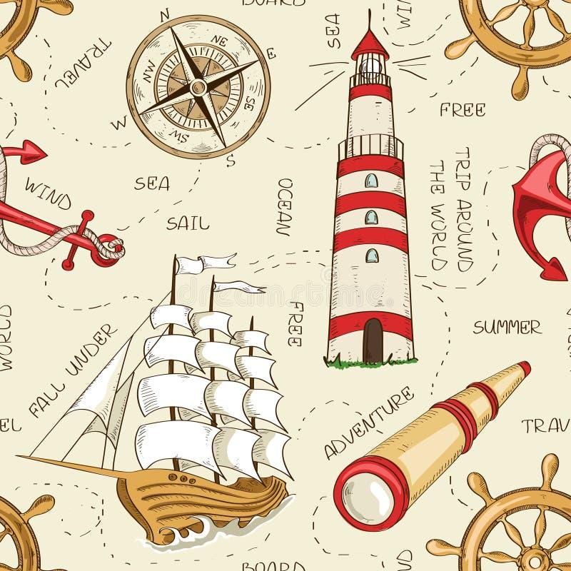 Free Nautical Seamless Pattern Stock Image - 40707401