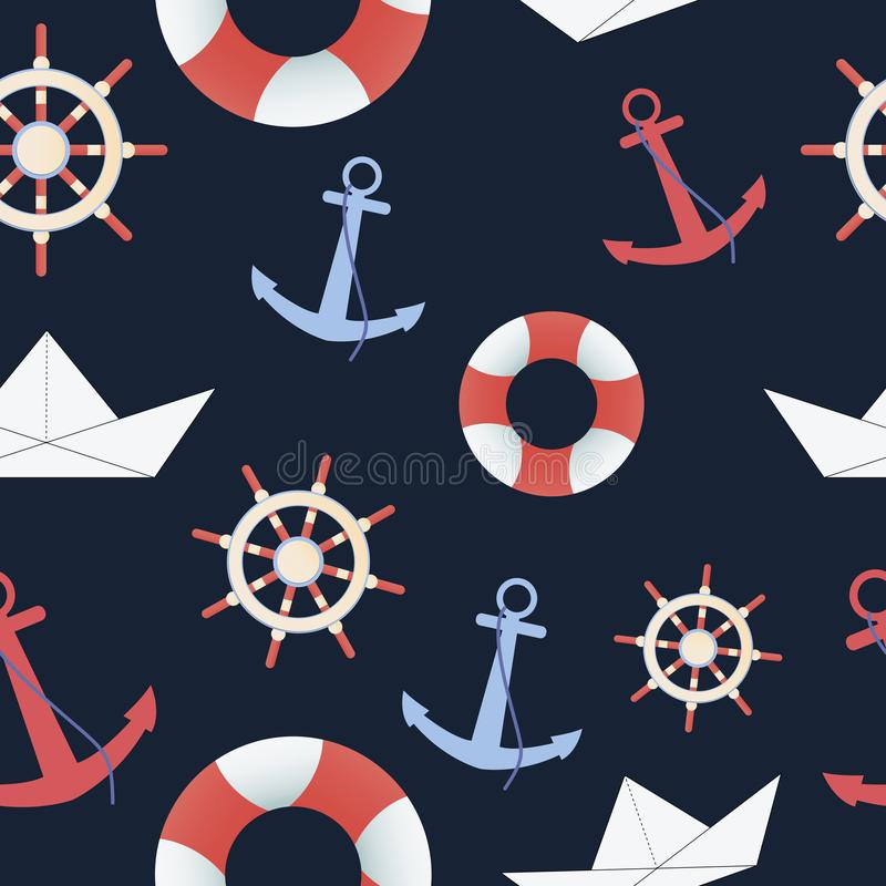Sea and nautical seamless pattern on the dark blue background. royalty free illustration