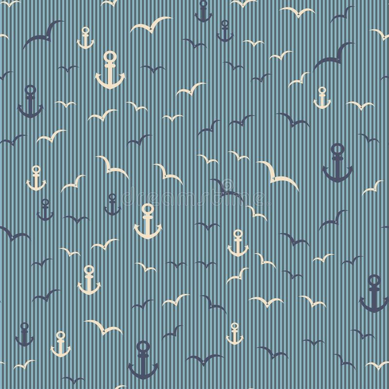 Nautical seamless pattern with anchor and seagulls. On the striped background. Vector illustration vector illustration