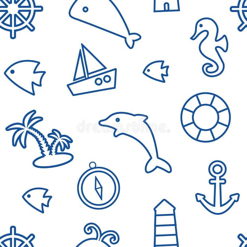 Nautical seamless pattern, marine theme, blue line art. Vector illustration. Nautical seamless pattern, marine theme, blue line art on white background. Vector stock illustration