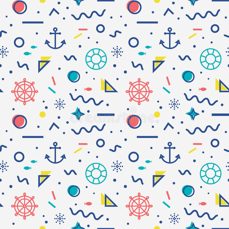 Nautical seamless pattern in memphis style. vector illustration