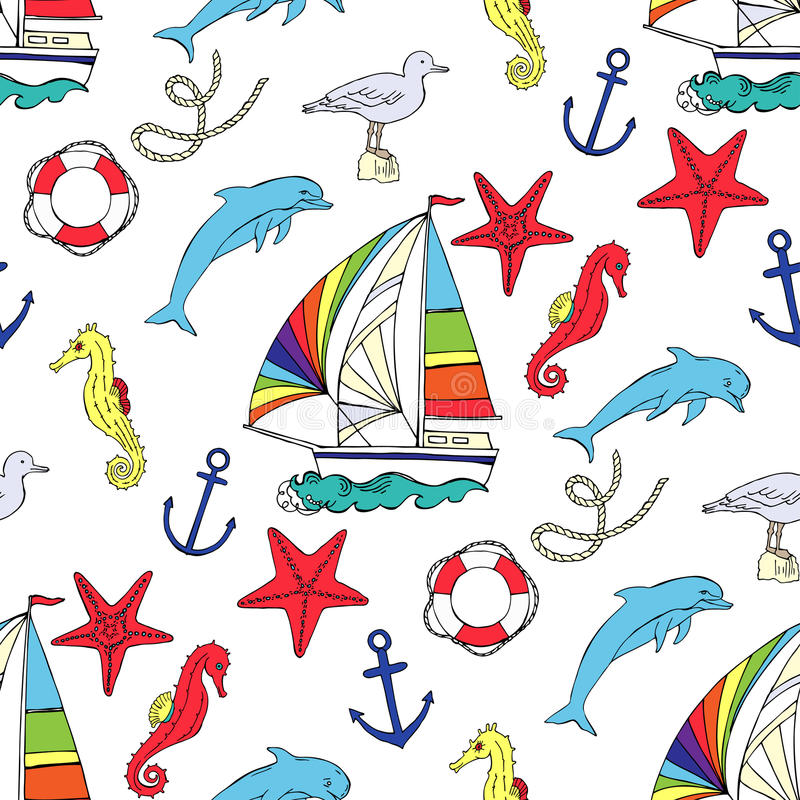 Nautical seamless pattern with ships. And wheel, seahorse, boats and dolphin. Hand drawn elements for summer holidays. Travel, marin and ocean. Vector stock illustration
