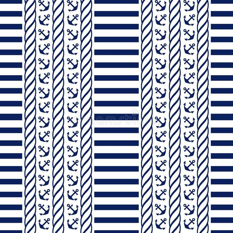Nautical seamless pattern. Vector illustration. royalty free illustration