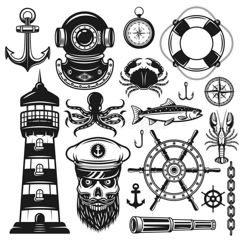 Free Nautical Set Of Vector Objects And Design Elements Stock Photo - 132195250