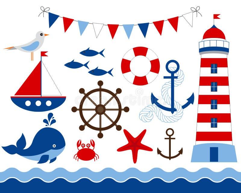 Nautical Set. Red and blue nautical set