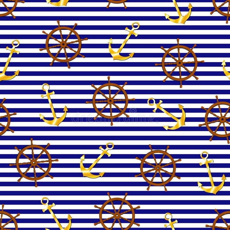 Elegant Nautical Logo In Blue Tones Stock Vector