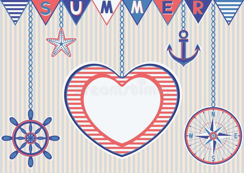 Nautical summer card with heart frame royalty free stock photography