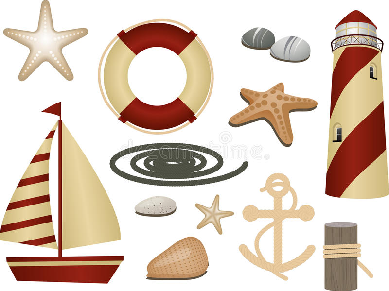 Nautical symbols. Lighthouse, boat, lifebuoy, anchor, rope and other nautical elements in red and cream royalty free illustration
