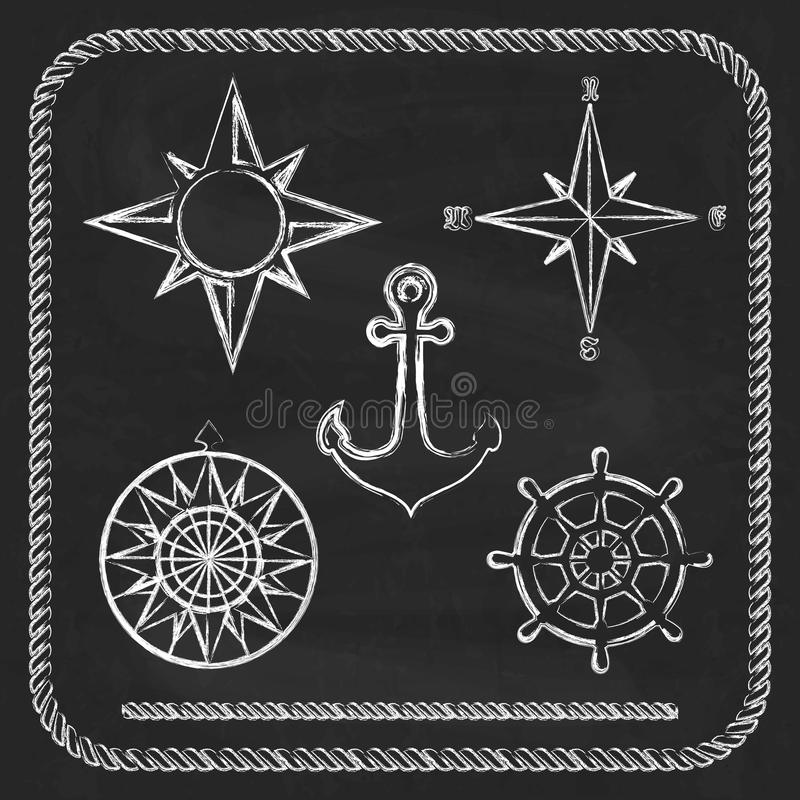 Nautical symbols - compass, anchor. On chalkboard background stock illustration