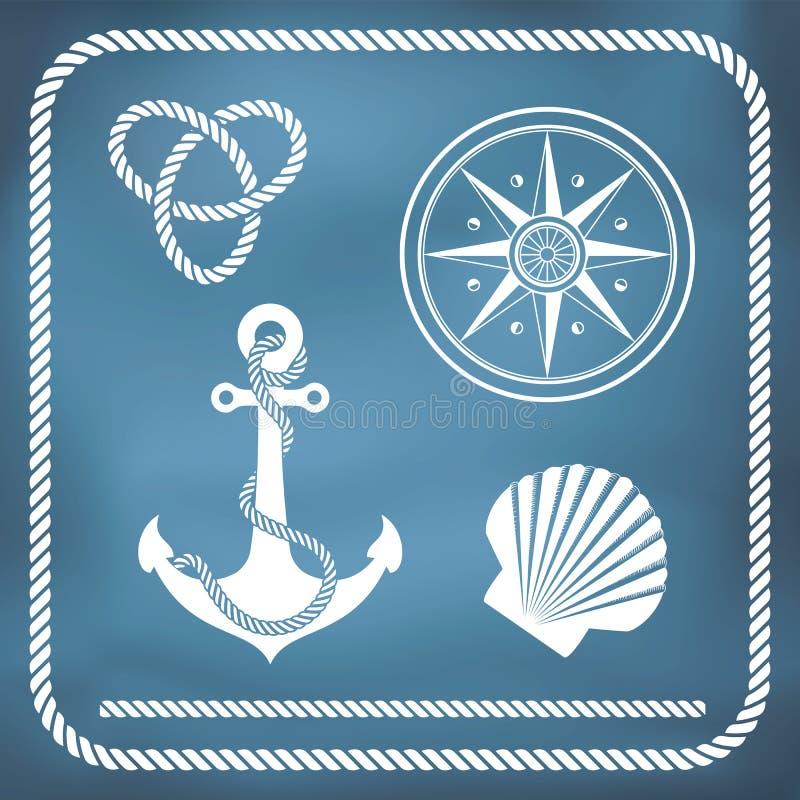 Nautical symbols. Compass, anchor, rope knot, shell royalty free illustration