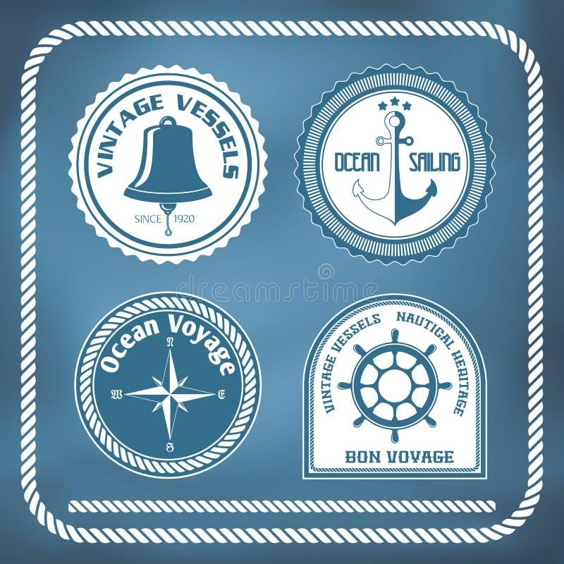 Nautical symbols. Compass, anchor, ship bell vector illustration