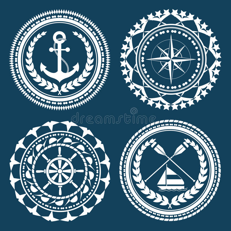 Nautical Symbols. And element set stock illustration