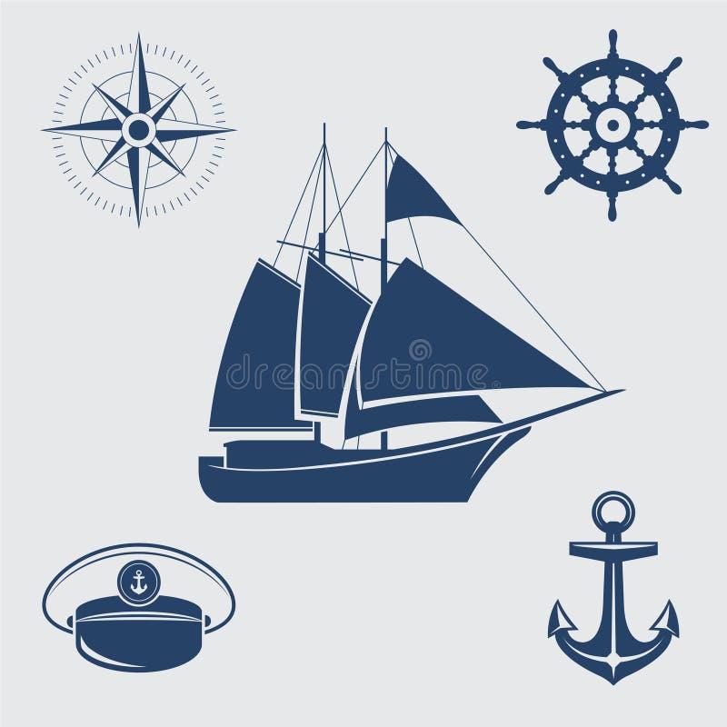 Nautical symbols. Five blue nautical symbols: sailing yacht, compass, steering wheel, captains cap and anchor royalty free illustration