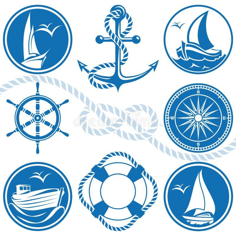 Nautical symbols and icons. Isolated nautical symbols and icons in blue and white colors royalty free illustration