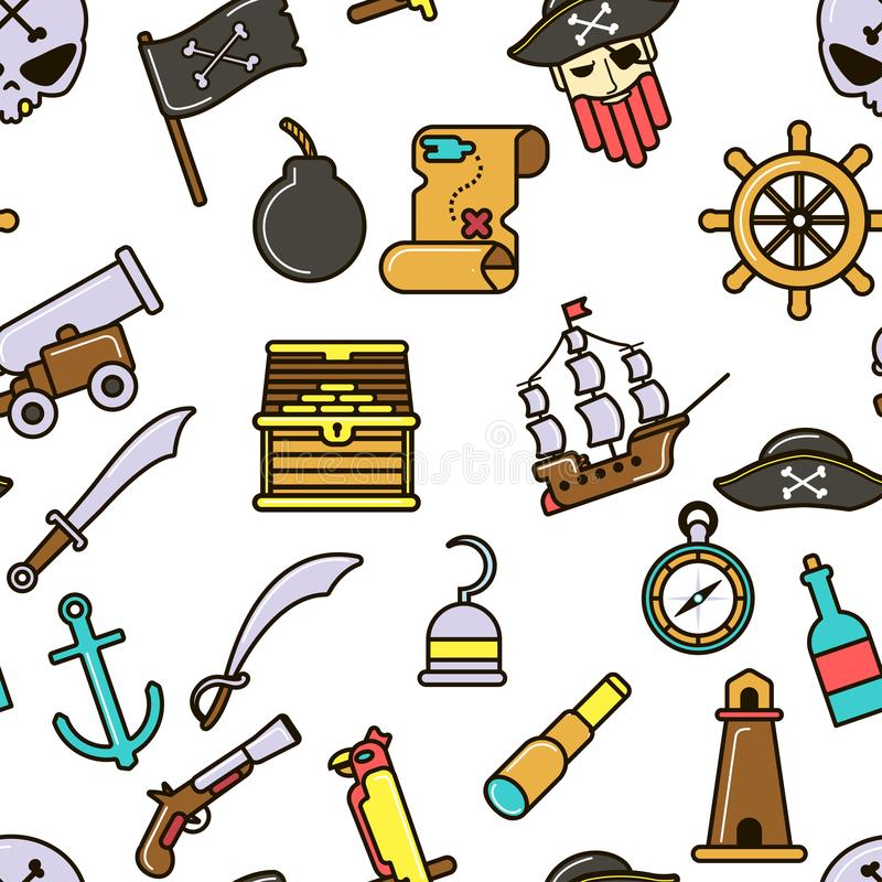 Nautical symbols pirate seamless pattern marine icons. Pirate seamless pattern piracy skull and bones ship and cannon vector flag marine criminal sword and royalty free illustration