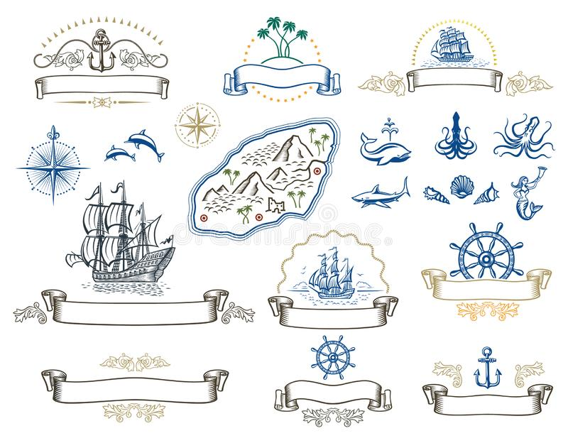 Nautical symbols. A series of illustrations with nautical theme symbols and emblems stock illustration