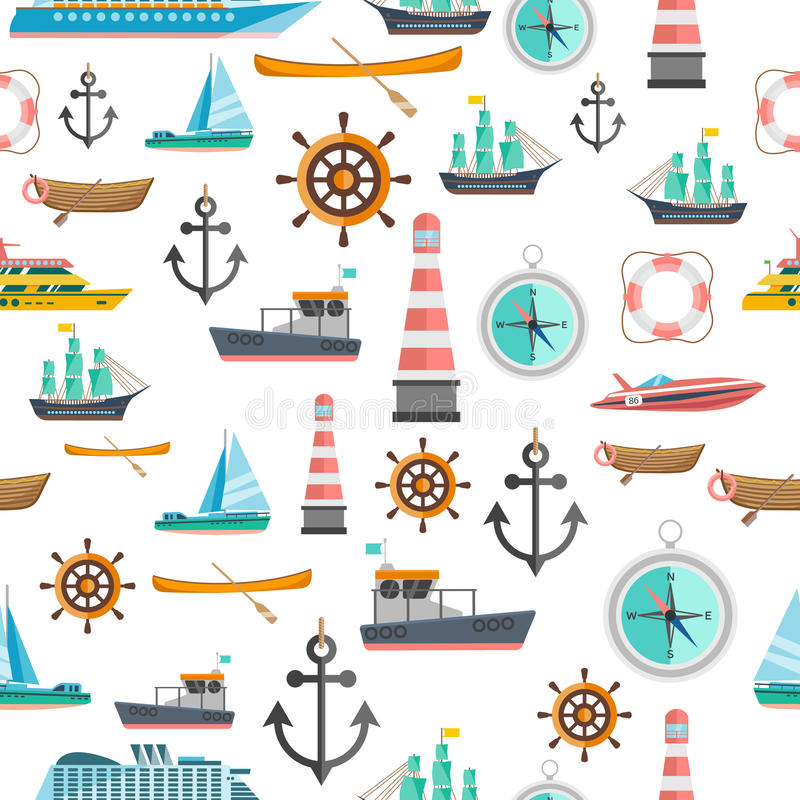 Nautical symbols vintage seamless pattern. Nautical symbols vintage icons seamless tileable pattern with beacon anchor compass and sailboats abstract vector stock illustration