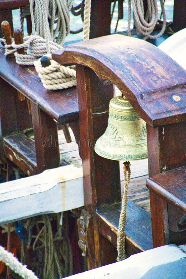 Free Nautical Tackles And Equipment Of The Old Tall Ship. Rigging Ropes And Rope Ladder On The Mast Of Sailing Vessel Stock Photography - 197562182