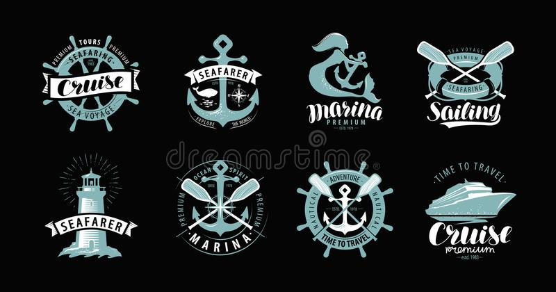 Nautical theme, set of logos or labels. Marine concept, vector stock illustration