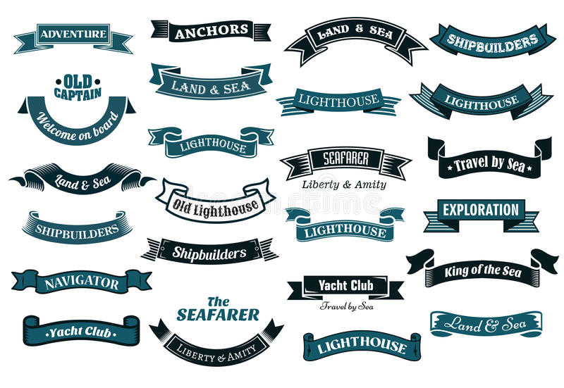 Nautical themed banners stock illustration