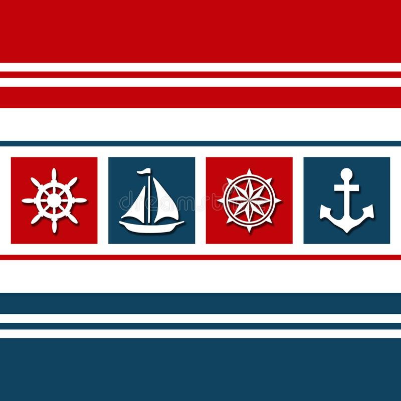 Nautical themed design with sailing symbols. Nautical themed design with nautical symbols - sailing wheel, sailing boat, anchor, compass - decoration on white royalty free illustration