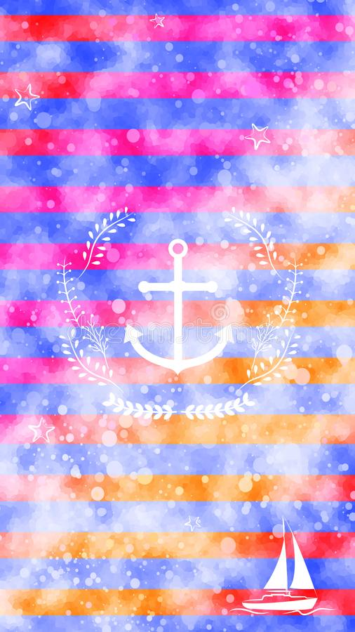 Nautical white anchor wreath boat yacht stripes colorful watercolor texture background wallpaper. Nautical themed wallpaper. White anchor, floral wreath, boat royalty free illustration