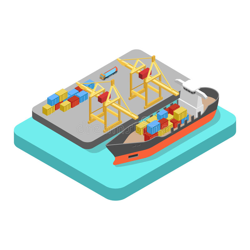 Nautical transport cargo shipping harbor dock port flat vector. Flat 3d isometric nautical transport cargo shipping harbor dock port concept web infographics stock illustration