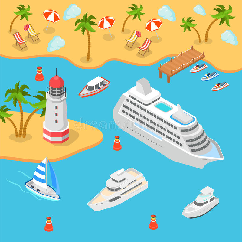 Nautical transport sea beach cruise flat 3d isometric vector vector illustration