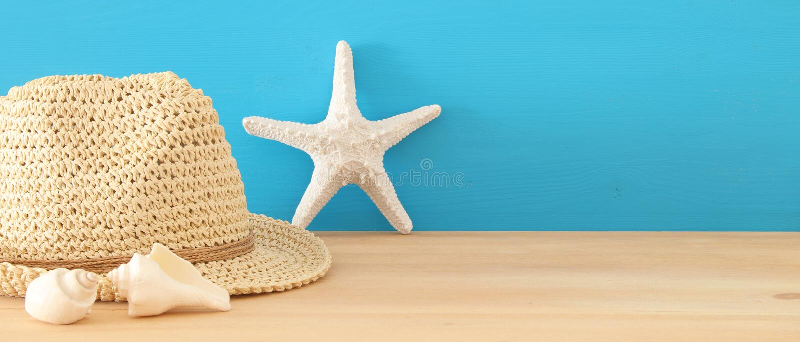 Nautical, vacation and travel banner with sea life style objects over wooden table. Nautical, vacation and travel banner with sea life style objects over wooden royalty free stock images