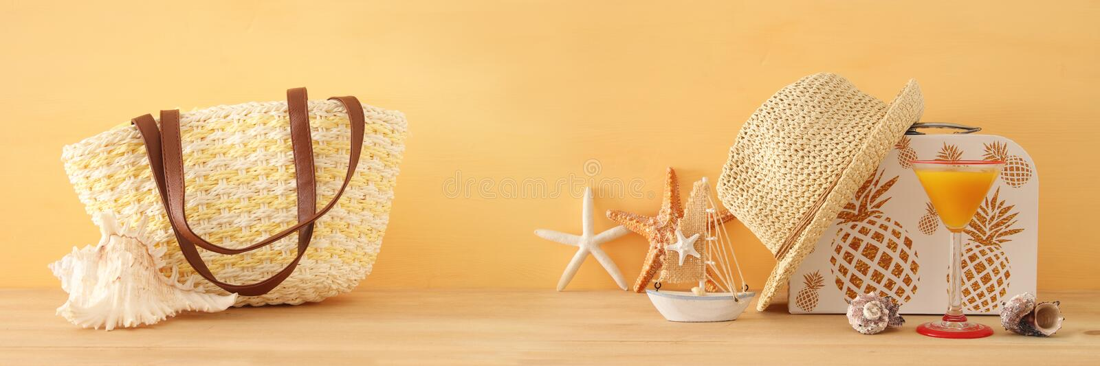 Nautical, vacation and travel banner with sea life style objects over wooden table. Nautical, vacation and travel banner with sea life style objects over wooden stock images