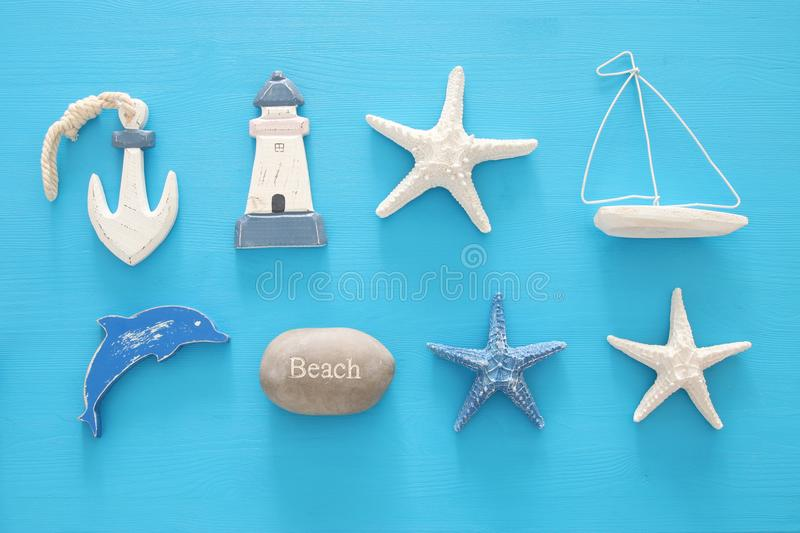 Nautical, vacation and travel banner with sea life style objects. Top view. Nautical, vacation and travel banner with sea life style objects. Top view stock photos
