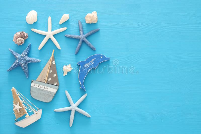Nautical, vacation and travel banner with sea life style objects. Top view. Nautical, vacation and travel banner with sea life style objects. Top view royalty free stock photo