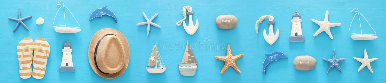 Nautical, vacation and travel banner with sea life style objects. Top view. Nautical, vacation and travel banner with sea life style objects. Top view royalty free stock photography