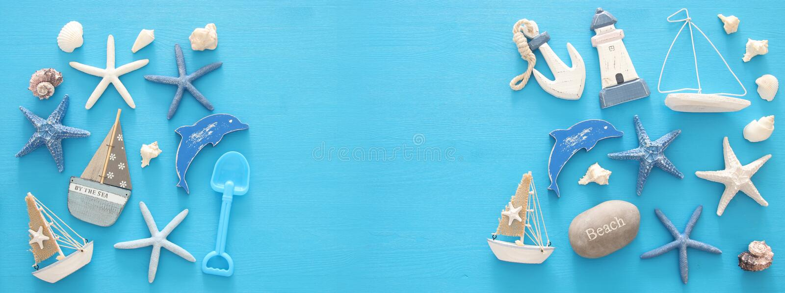 Nautical, vacation and travel banner with sea life style objects. Top view. Nautical, vacation and travel banner with sea life style objects. Top view royalty free stock image