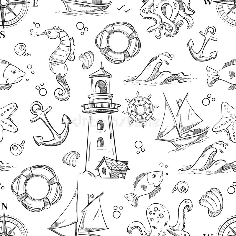 Nautical vector doodle seamless pattern with sea animals, sailboat and anchor stock illustration