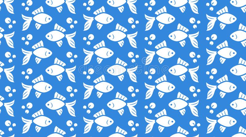 Nautical vector seamless pattern with flat icons of fish school, bubbles. White goldfish silhouette on blue color vector illustration