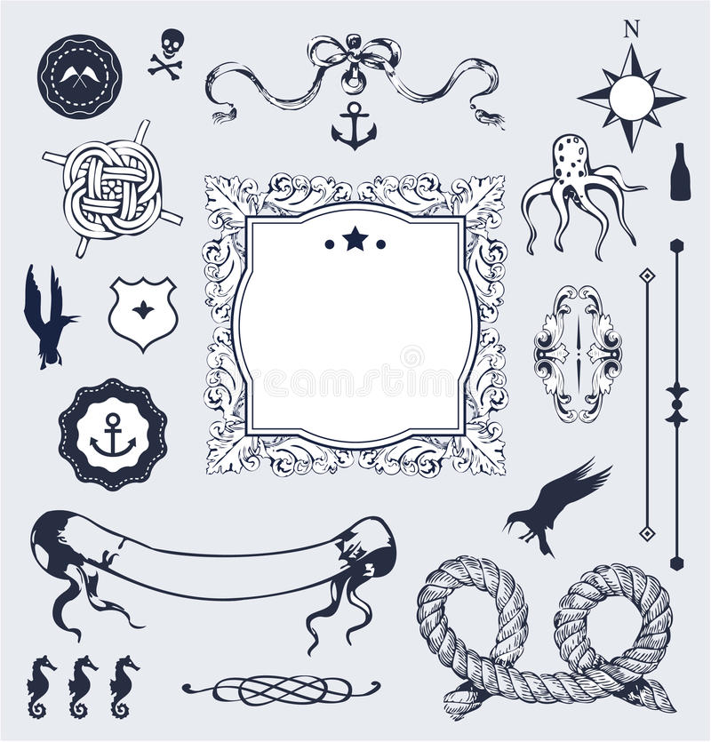 Nautical Vector Set With Elements For Your Design Royalty Free Stock Images