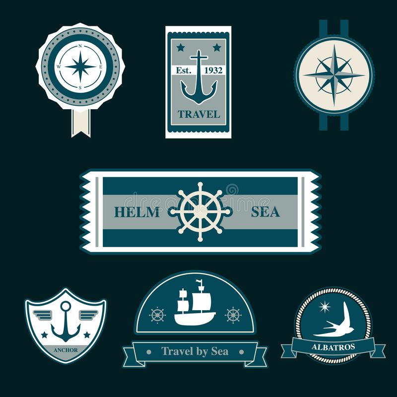 Nautical vintage badges. Vector collection. vector illustration