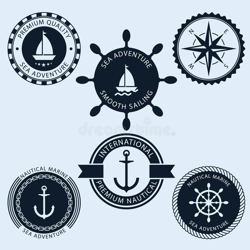 Nautical vintage badges. Vector collection. stock illustration