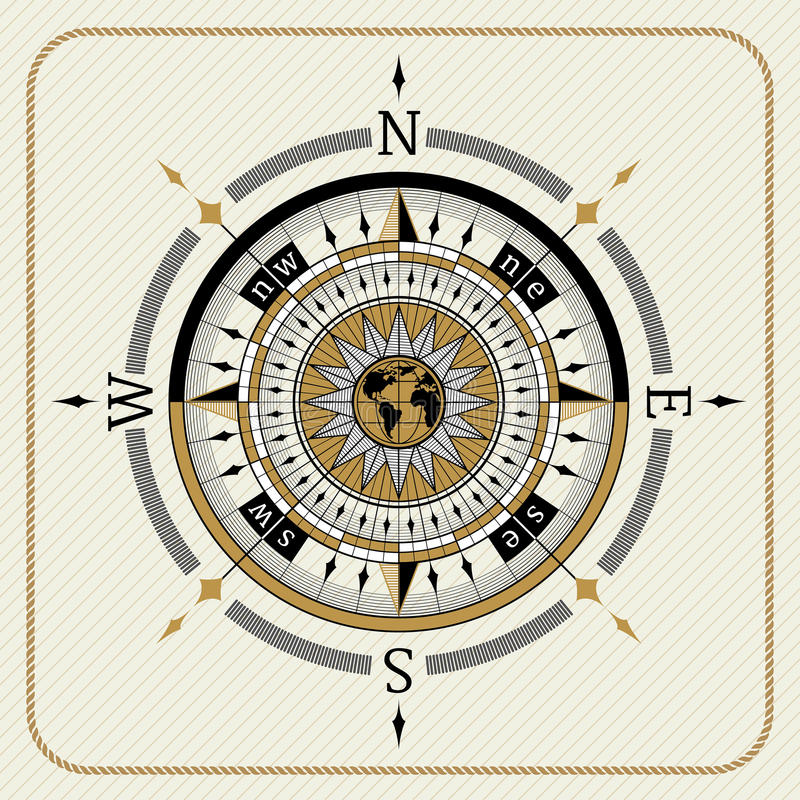 Nautical vintage compass 04 royalty free illustration