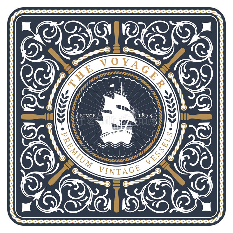 Nautical The Voyager Retro Card royalty free illustration