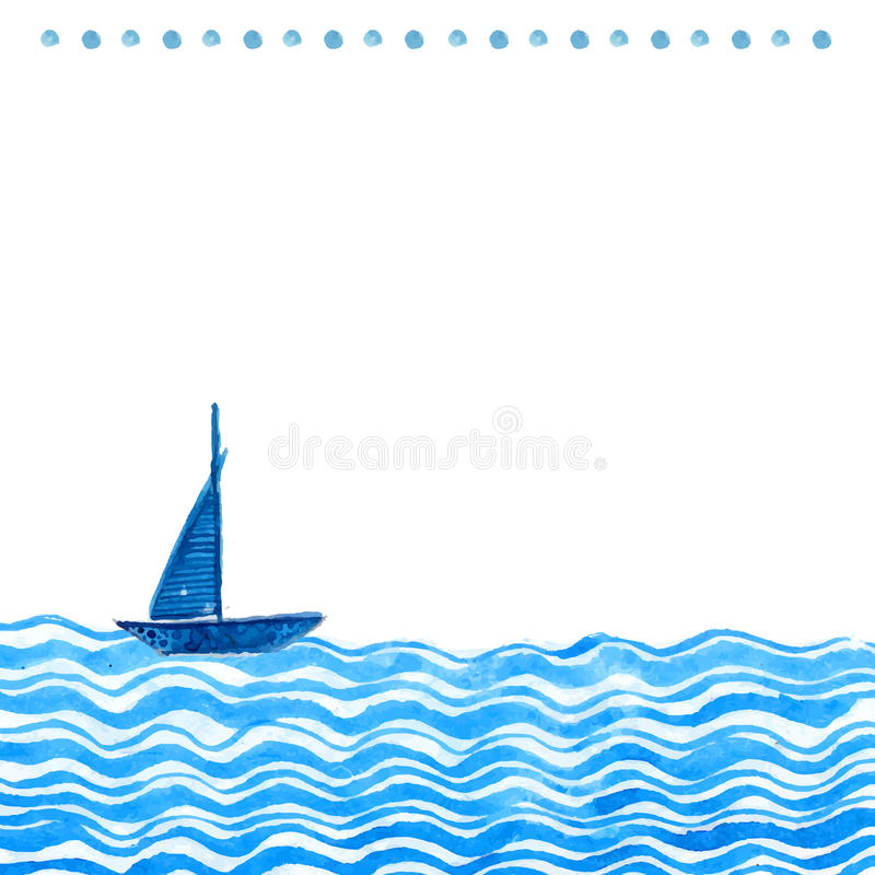 Nautical watercolor backdround with hand drawn ship and waves. Vector artistic texture with blank space for text. Watercolor backdround with hand drawn ship and stock illustration