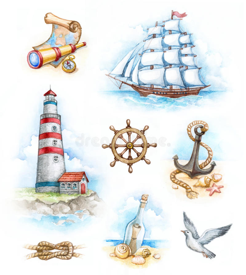 Nautical watercolor illustrations. Set of nautical watercolor illustrations