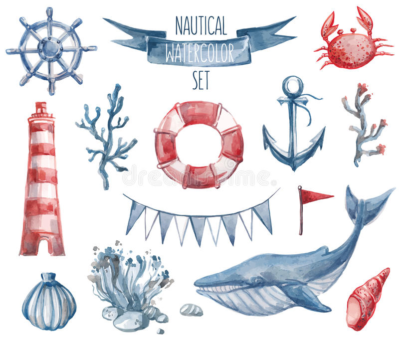 Nautical watercolor set. Beautiful nautical set. Watercolor vector. Include lighthouse, anchor, corals, seaweed, whale, shells, steering-wheel and buoy ring