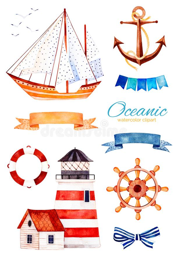 Ocean creature with anchor,lighthouse,ribbon and bow,bunting flags,sailboat. Nautical watercolor set. Ocean creature with anchor,lighthouse,ribbon and bow stock illustration